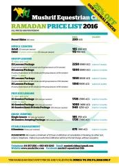 PRICELIST 2016 RAMADAN